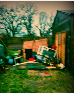 Destroyed shed from mini-tornado