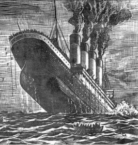 Depiction of the RMS Titanic sinking